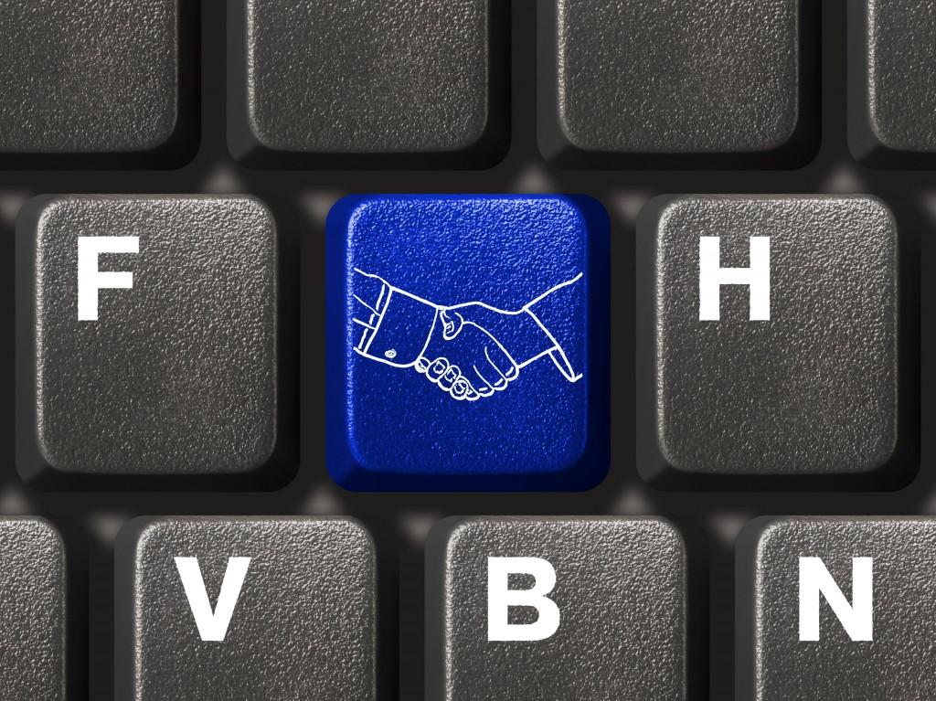 Computer keyboard with handshake button